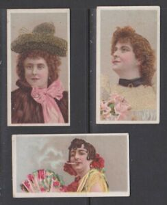 CIGARETTE CARDS Anon 1900 Beauties 'HOL' - (3 cards) 2,17,26