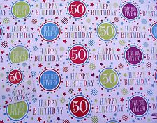2 SHEETS 50th WRAPPING PAPER, GOOD QUALITY, VALUE  (024)