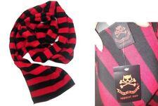 BNWT Death Kitty rouge et noir à rayures écharpe goth/punk/Emo/Festival Hiver/Chaud