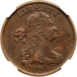 1804 C-7 R-4 NGC AU 55 CC level Draped Bust Half Cent Coin 1/2c