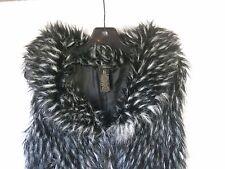 *Grass Brand Black & White Collared Fake Fur Vest Waistcoat Women's S