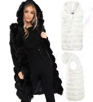 Womens Faux Fur Gilet Jacket Bodywarmer Soft Fluffy Waistcoat Size 8 10 12 14