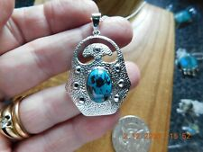 Arts and Crafts Style Sterling Silver & Turquoise Necklace December Stone