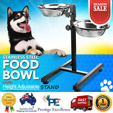 Pet Dog Cat Bowl Height Adjustable 2 Removable Bowls & Stand Food Water Supplies