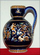 GIEN, Lourd vase à anse en faïence décor bleu Renaissance (H: 24cm)
