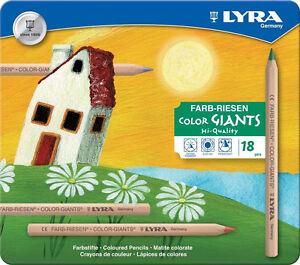 18 dicke Lyra Farb Riesen NATUR Stifte Farbstifte Buntstifte Malstift Metalletui