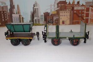 Antique 1900 Marklin O Gauge No.1833 Stack Body Car & No.1811 Dumping Coal Car