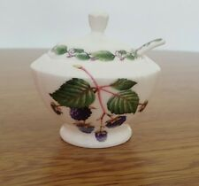 Redwood Collection Ltd Edition Jam Pot W/Spoon English Bone China Blackberry