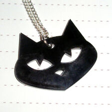 Black Halloween Evil Cat Logo Necklace Black acrylic necklace Pussy Cat