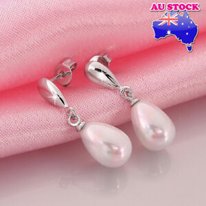 Charming 18K White Gold Filled Pearl Earrings With Tear Drop Pearl