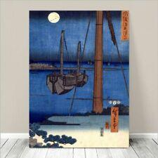 "Beautiful Japanese Sea Art CANVAS PRINT 8x10"" HIROSHIGE Moonlight View Tsukuda"