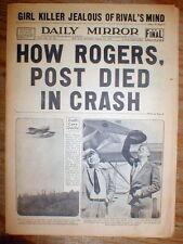 1935 hdln newspaper WILL ROGERS & WILEY POST KILLED in Plane Crash BARROW Alaska