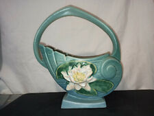 SOLD AS IS!!! Roseville Pottery Water Lily Blue Basket 381-10