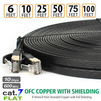 Long Cat 7 Ethernet Shielded(STP) 10GB Fastest Lan Network Cable–50FT 75FT 100FT