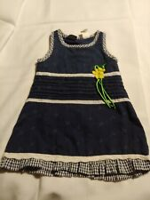 So La Vita~Navy Blue Dress/Jumper~Yellow Flower~Gingham Ruffle and Trim~Size 2T~