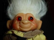 Vintage Dam Troll 1960's Glass Orange Eye Long White Hair Clown Outfit Hard Body