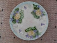Antique French Majolica Plate from antique ORCHIES pottery : blue periwinkles