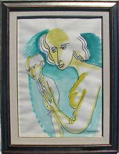 Remo BRINDISI (Roma 1918 – Lido di Spina FE 1996) Maternità cm 70x50 1970 ca.