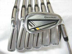 Used RH TaylorMade RocketBladez Tour Iron Set 4-A Stiff Flex Steel Shafts