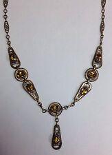 Antique Art Deco Citrine Topaz Colored Glass & Brass Filigree Lavaliere Necklace