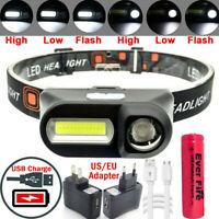 6 Modes USB Rechargeable Headlamp COB LED Headlight Head Light Torch Flashlight