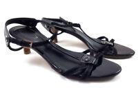 TOD's Black Leather Low Heels Sandals, Women's shoe size US 6/EU 36
