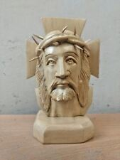 Jesus Christ Wooden Hand made Sculpture Christian Bust Crucifix Cross Statue