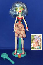 Monster High Doll Ghoulia Yelps Skull Shores w/Stand Brush Loose Mattel Beach