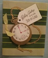 Vintage Unused 50s Happy Birthday Son-In-Law Greeting Card Pocketwatch