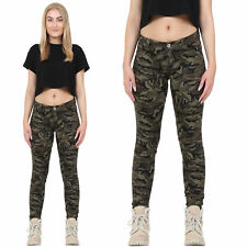 Womens Military Army Green Camouflage SKINNY Slim Stretch Jeans Pants Trousers 10
