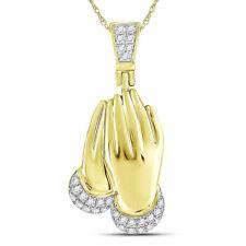 10kt Yellow Gold Mens Round Diamond Praying Hands Charm Pendant 1/6 Cttw
