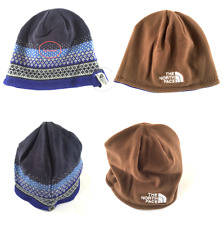 The North Face Reversible Beanie Hat Blue Brown Warm One Size Pattern Walk Trek
