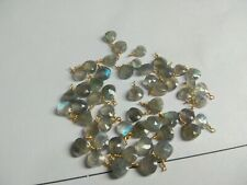 20 BEADS LABRADORITE HEART WIRE WRAPPED GOLD PLATED LINK 5 MM GEMSTONE BEADS