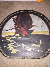VINTAGE PIRATE SHIP  HAT BOX LUGGAGE HAND PAINTED PIRATE SHIP - OLD