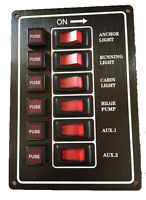 Switch Panel 12 Volt Alloy Illuminating 6 Gang Vertical With Fuses Black New