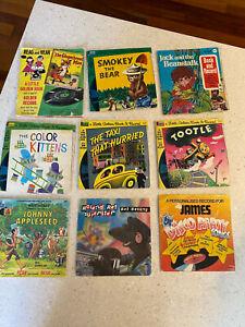 Vintage Children's See Hear Read Along Story Books 45's records Lp's x 9 Disney