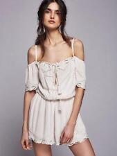 180294 New $128 Free People White Romance Embroidered Eyelet Romper Dress S