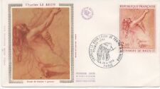 """FRANCE 1973.F.D.C.SOIE.CHARLES LEBRUN."""" FEMME A GENOUX"""".OBLIT:LE 28/4/73 PARIS"""