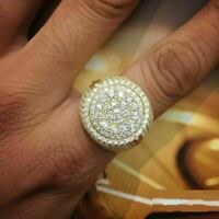 2.15 Ct Round Brilliant Diamond 14K Yellow Gold Over Solid Men's Pinky Band Ring