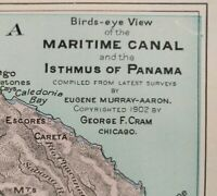 """Vintage 1902 (dated) PANAMA CANAL Atlas Map 14""""x11"""" ~ Old Antique COLON CHAGRES"""