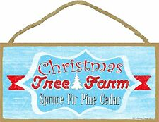 "Retro Style Christmas Tree Farm Holiday Sign Plaque 5""x10"""