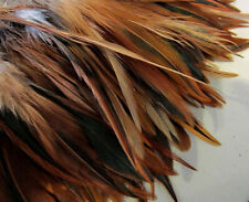 Natural Furnace Rooster (Mixed Brown Chestnut) Saddle Hackle Strung Feathers