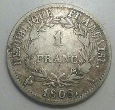 FRANCE - Monnaie 1 franc argent Napoléon I Empereur Tête laurée 1808 A (Paris)