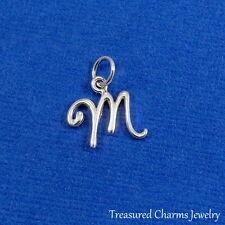 925 Sterling Silver Letter M Charm - Initial Script Cursive M Alphabet Charm NEW