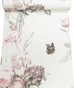 Pale  Blush White Pink Green Floral Flowers Butterfly Textured Vinyl Wallpaper