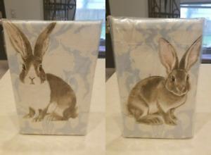 Set of 2 Williams Sonoma PAINTERLY DAMASK BUNNY Rabbit Dish Kitchen Towels