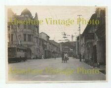 OLD PHOTOGRAPH STREET SCENE SINGAPORE NOTE TROLLEY BUS VINTAGE C.1930