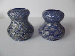 2 GOURD VASES c1905 Pompeian Venetian Frit Cobalt Blue Starburst Dugan Art Glass