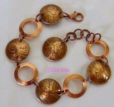 1942 WHEAT PENNY & SOLID COPPER RINGS BRACELET! RARE COIN JEWELRY 75th BIRTHDAY