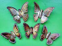 Vintage 60s 70s Metal Metallic Gold Copper Butterfly Wall Hangings Art Decor Set